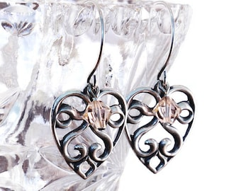Silver Love Heart Earrings / Light Peach Crystals / Antique Silver / Swarovski Crystal / Scroll Love Heart Earrings