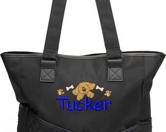 Personalized Diaper Bag Monogram Puppy Dog Boy Tote