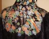 1930s 1940s Black Slik Floral Printed Kimono Bohemian Flapper