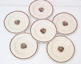 Antique Salad Plates | Gainsborough Crown Ducal | Bread and Butter Plates | Dessert Plates | Charm Pattern - Set of 6