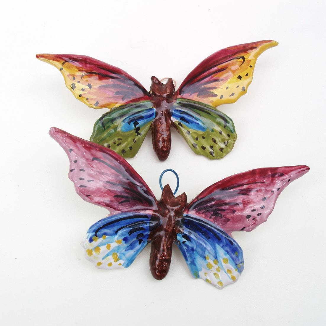 Vintage ceramic butterfly wall hanging butterfly wall art for Butterfly wall art