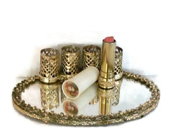 Lipstick Holder With Mirror and Lipstick Gold Metal