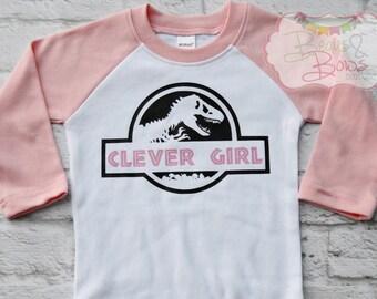 """Jurassic Inspired """"Clever Girl"""" Pink White Dinosaur Raglan Bodysuit - Made To Order"""