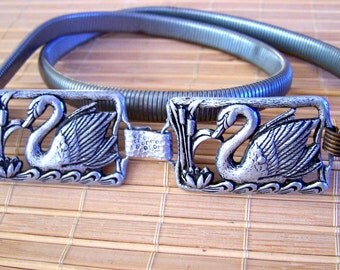 Vintage 70's  Ladies Party Snake / Cinch Belt Silver-toned with Swimming Swans