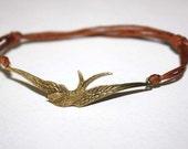 Bird in Flight Bracelet or Anklet, Swallow, Sparrow, Flight, Antique Brass, Bronze