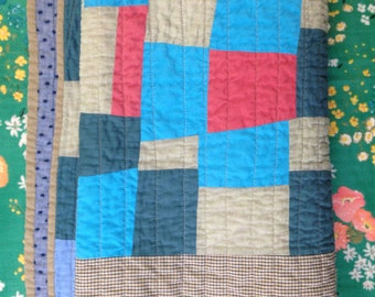 Baby quilt: Potlatch crib quilt  | improv modern quilt red blue pink handmade homemade upcycled clothing