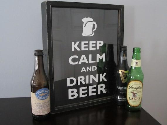 Beer bottle caps collector shadow box display keep calm for Craft beer typography beer cap shadow box beer cap collector