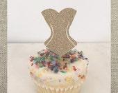 Corset // Bachelorette // Lingerie Shower Cupcake Topper // Party Pick (Set of 12)