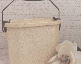 Vintage French Enamelware Lunch Pail / Yellow Graniteware / French Kitchen Decor / French Country