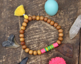 Sweet Summer: Vintage Vinyl Record Beads, Sandalwood, Tassel, Boho Bracelet, Neon Bright Summer Fashion, Stretch Stack Bracelet