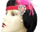 Flapper Headband Pink Jewel Roaring 20's Gatsby Feathered Fascinator Cosplay