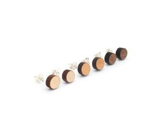 Circle Post Earrings - Sterling Silver - Laser Cut Wooden Minimalistic Modern Unisex Stud Earrings