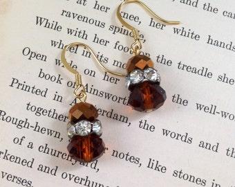 SALE Handmade OOAK Earrings Brown Rhinestone Dangle Swarovski Beads Chocolat Vintage Inspired Gold Filled Earring Hooks
