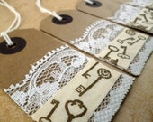Vintage/Steampunk Tags with Lace and Key Design - Great for Christmas gifts!