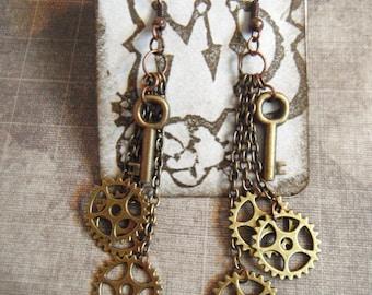 Gold Keys and Chain Dangle Earrings