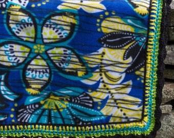 Crochet Edge Fleece Flower Stroller Blanket -- Ready To Ship, RTS Baby Blanket