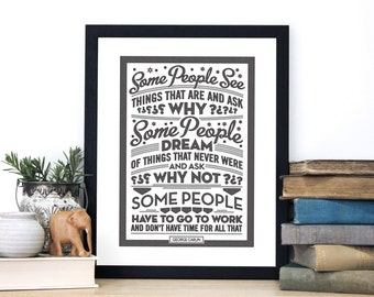 Some People Dream, George Carlin Quote, Typographic art, chatty nora, humorous print, black and white art
