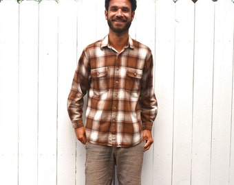 Plaid Shirt Jacket 1980s Brown White Vintage Flannel Button Up Medium Large