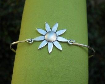 Bracelet - Bangle - Silver Bracelet - Silver Bangle - Sterling Silver Bangle Bracelet - Flower