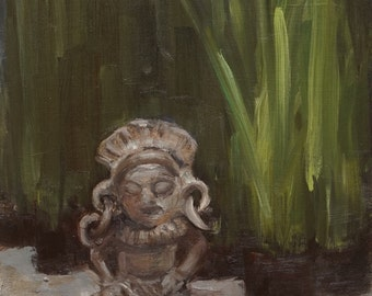 Mayan Clay Figure - original oil painting - still life