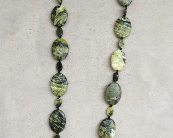 Oval Pillows Green Chartreuse Picasso Jasper Necklace Hand Strung & Knotted