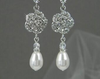 Bridal earrings, Wedding jewelry,  Bridal Jewelry,  Rhinestones,  Bridesmaids, Rose Earrings
