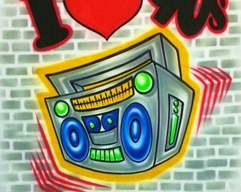 Airbrush T Shirt I Love 90s Boombox, I Love The 90s Or Any Year Shirt, I Love The 90s, Boombox Shirt, Hip Hop Shirt, Graffiti Shirt