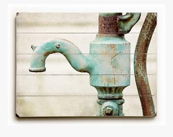 Wood Sign: Bathroom Decor, Rustic Panel Print, Aqua Faucet, Aqua Pump, Aqua Bathroom Art, Teal Bathroom Decor, Planked Bathroom Wall Art.