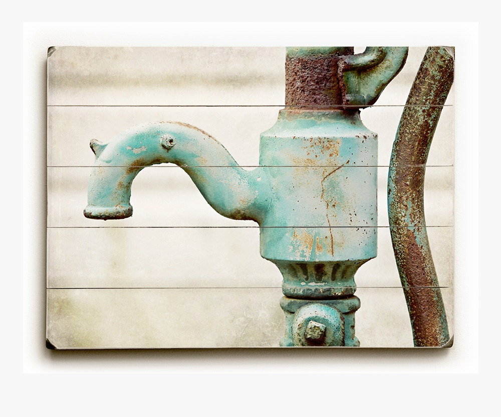 Wood sign bathroom decor rustic panel print aqua faucet for Wood bathroom wall decor