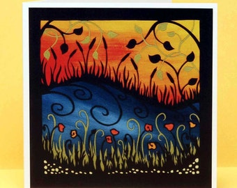 Poppies and Cattails art card