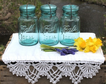 THREE Aqua Blue Ball Ideal Quart Jars - Weddings - Home Decor - Kitchen & Pantry Storage - Collectible - INSURANCE with Shipping