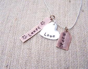 Handstamped personalized keepsake pendant copper and/or aluminum disc sterling chain