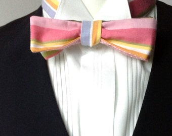 bowtie in cotton stripe fabric, skinny style, self tie bow tie, freestyle  - bow tie ships worldwide from Bagzetoile - gifts for men