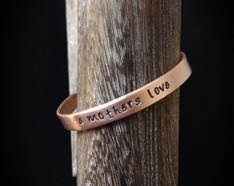 a mothers love - Hand Stamped Copper Bracelet Cuff