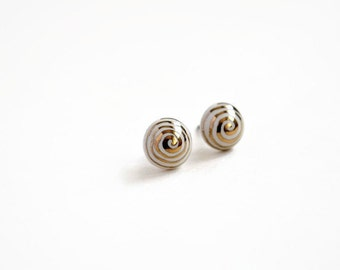 Gold swirls - white ceramic post earrings - round studs - ceramic jewelry - ivory and gold