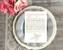 Thank You Reception Card, Customizable Wording, Paper, Color, Fonts - 5x7 in size