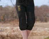 off to hawaii Yoga Capris, Cropped Pants, Pineapple Shorts, S,M,L,XL