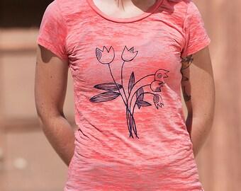 Tulips Tshirt, Yoga Shirt, Summer Tee, S,L