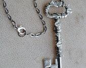 Crystal Skeleton Key Necklace Beaded Jewelry Sparkle Pendant Fairy Jewelry
