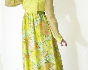 Vintage Lord and Taylor 1960s maxi dress - yellow and multicolor flocked floral print - boho romantic party dress - size small - prom gown
