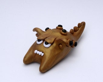 Zorell the Polymer Clay Monster Gold