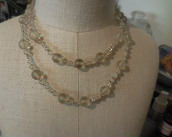 Vintage Clear/Frosted/Rhinestone Beaded Necklace 1950s to 1960s Double Strand