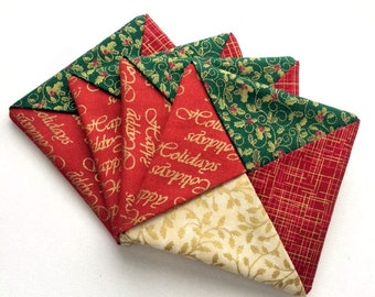 Holiday Coaster Set - Party Gift - Gold Quilted Coasters - Christmas Coasters - Christmas Mug Rugs - Hostess Gift Set