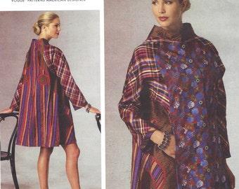 Koos Van Den Akker Womens Swing Coat Appliqued Vogue Sewing Pattern V1441 Size 16 18 20 22 24 26 Bust 38 to 48 UnCut American Designer
