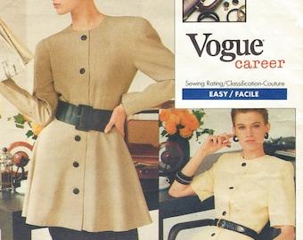 80s Albert Nipon Womens Dress and Peplum Tunic & Skirt Vogue Sewing Pattern 2029 Size 12 14 16 Bust 34 36 38 UnCut