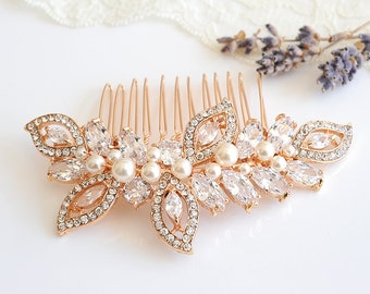 Bridal Hair Comb, Rose Gold Wedding Hair Comb, Crystal Leaf Hair Comb, Swarovski Pearl Bridal Headpiece, Wedding Bridal Hair Clip, AUGUSTINA