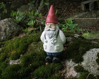 Gnome Doctor, Garden Gnome, Dr Gnome, Gnome Nurse, Garden Decor, Concrete Gnome For Garden, Yard Art, Cement Gnomes Art, Concrete Statue