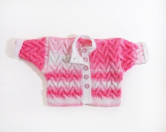 Knitted Baby Jacket - Pink and White, 0 - 6 months
