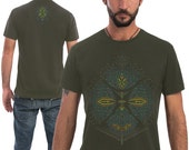 Mens Psychedelic T-shirt, Olive Green, Brown, Psy Trance, Burning Man, Festival Clothing, Dmt, Trippy Shirt