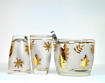 Midcentury Libbey Gold Leaf Foil Frosted Glasses with Coordinating Ice Bucket and Tongs New Years Eve Holiday Hostess Gift